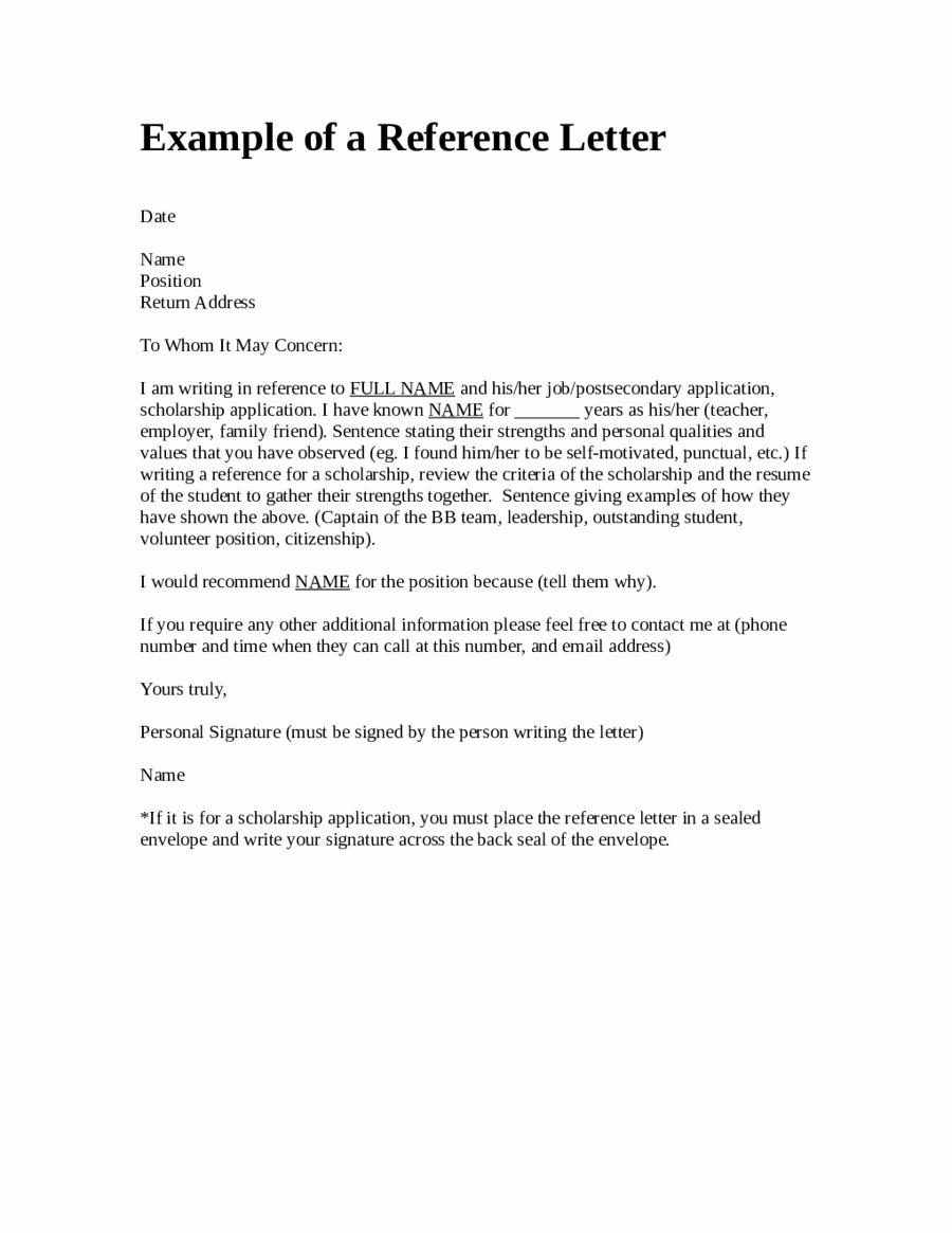 Form for Letter Of Recommendation Elegant Reference Letter format