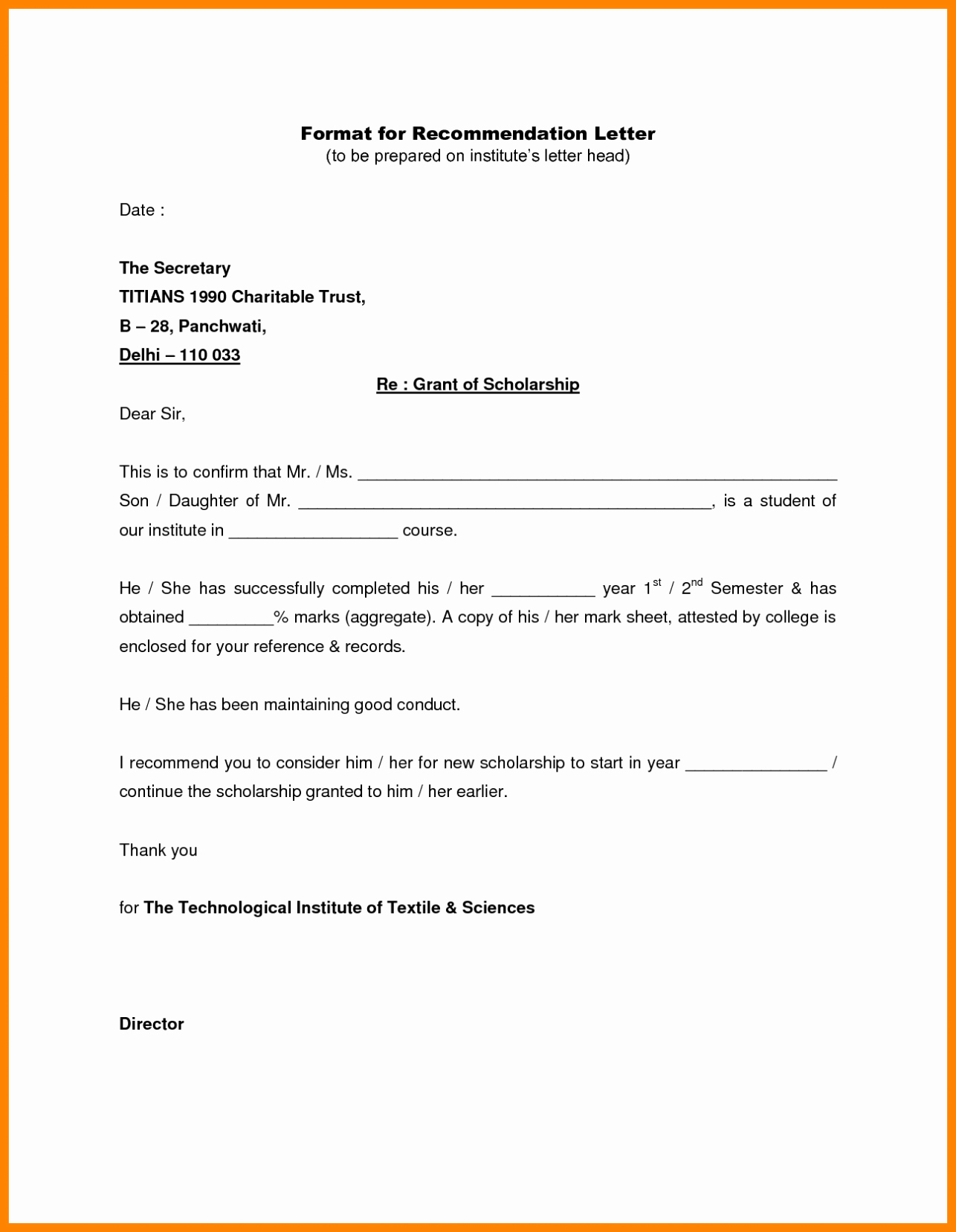 Form for Letter Of Recommendation Elegant Writing A Letter Of Re Mendation Template Sample
