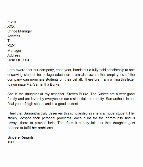 Form for Letter Of Recommendation Inspirational 30 Sample Letters Of Re Mendation for Scholarship – Pdf