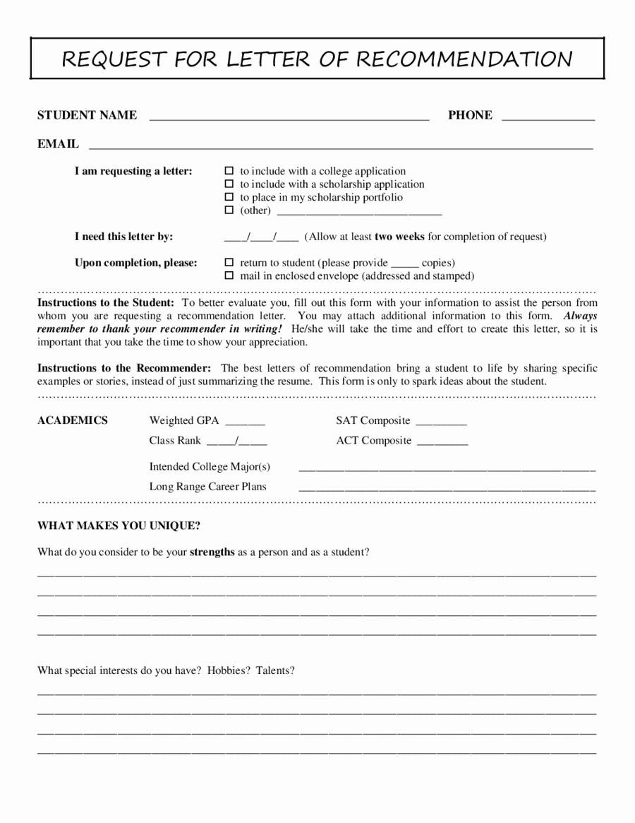 Form for Letter Of Recommendation Lovely 2018 Letter Of Re Mendation Sample Fillable Printable