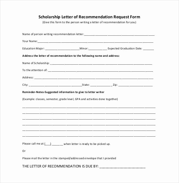 Form for Letter Of Recommendation Luxury 27 Letters Of Re Mendation for Scholarship Pdf Doc