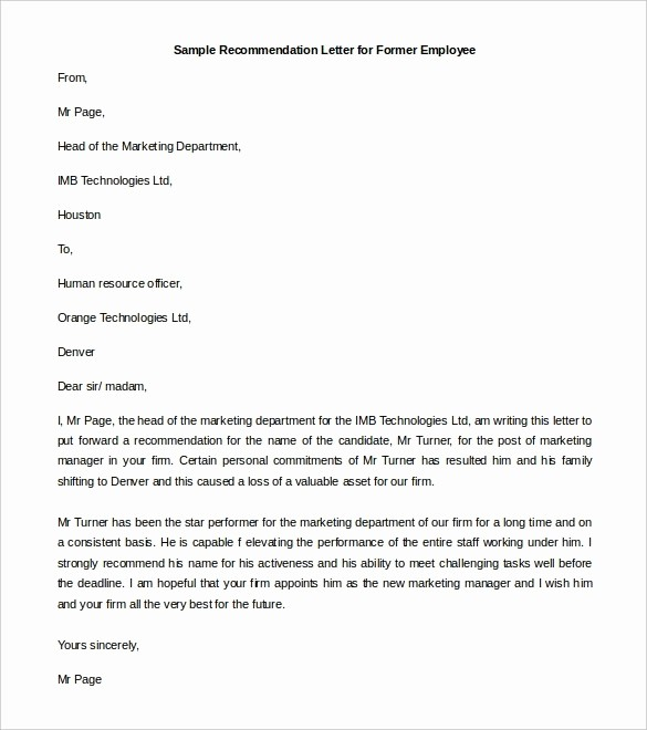 Form for Letter Of Recommendation Luxury Re Mendation Letter format