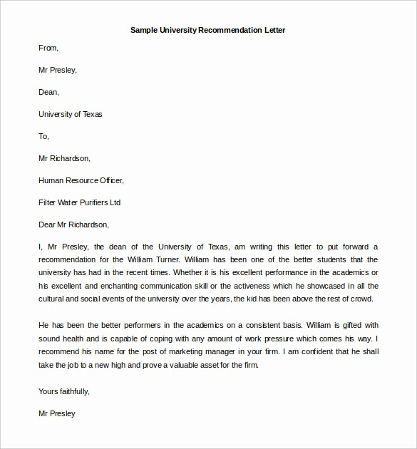 Form for Letters Of Recommendation Beautiful 30 Re Mendation Letter Templates Pdf Doc