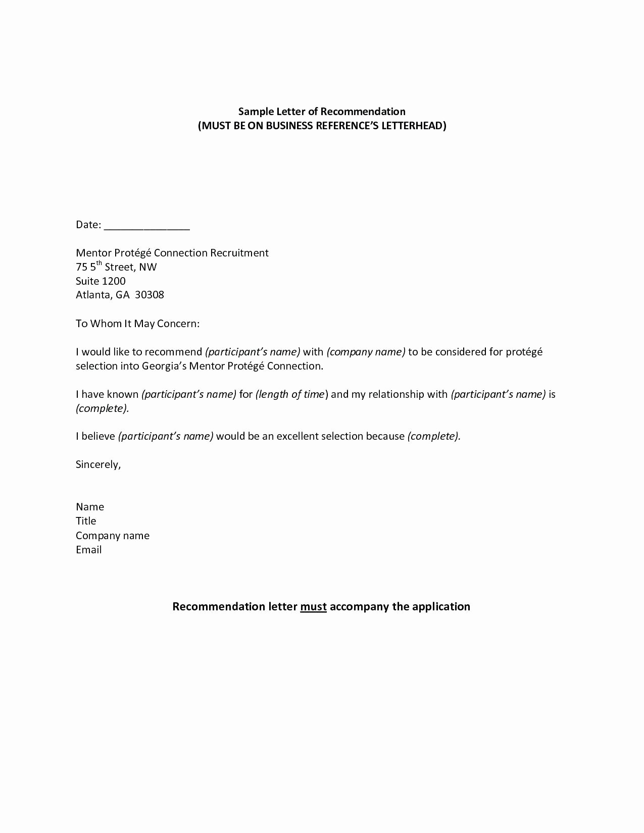 Form for Letters Of Recommendation Beautiful Re Mendation Letter Email Template New Template for