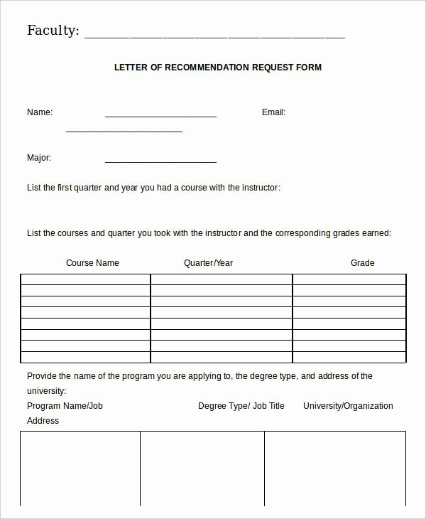 Form for Letters Of Recommendation Best Of 21 Re Mendation Letter Templates In Doc