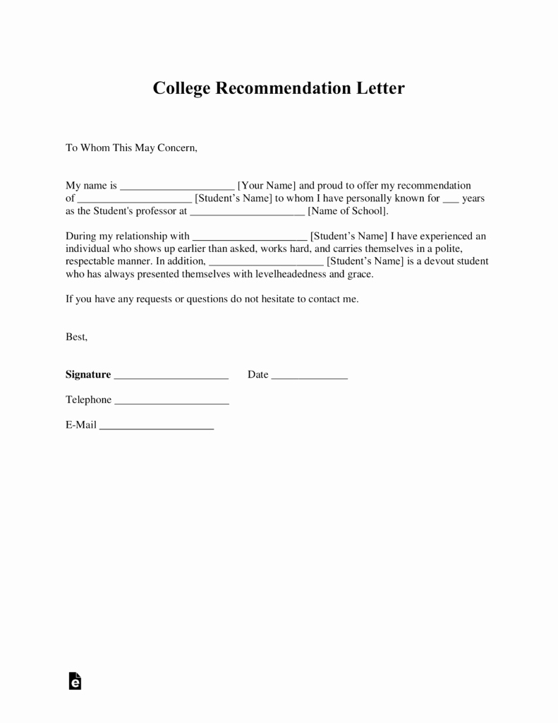 Form for Letters Of Recommendation Best Of Free College Re Mendation Letter Template with Samples