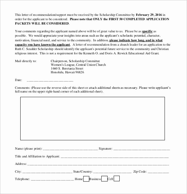 Form for Letters Of Recommendation Fresh 30 Sample Letters Of Re Mendation for Scholarship Pdf