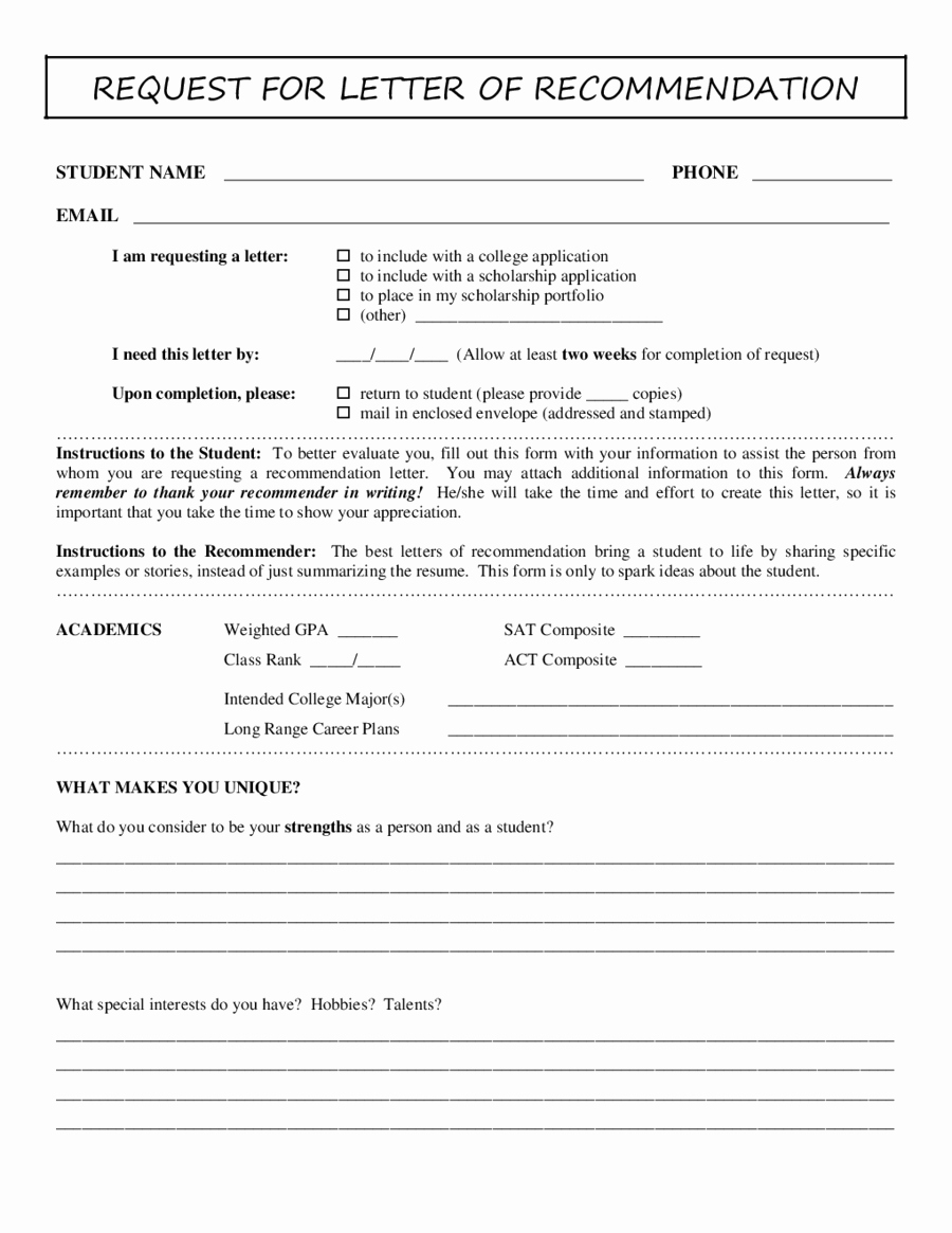 Form for Letters Of Recommendation Inspirational 2018 Letter Of Re Mendation Sample Fillable Printable