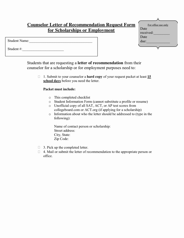 letter of re mendation request form 1