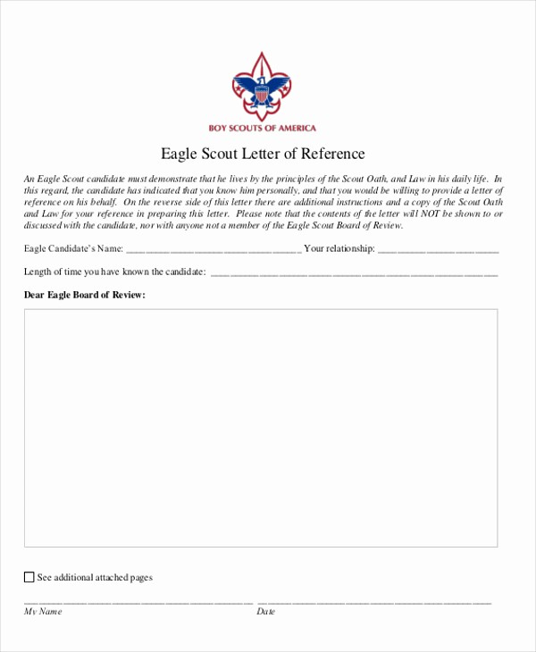 Form for Letters Of Recommendation Lovely 9 Sample Eagle Scout Re Mendation Letter Templates