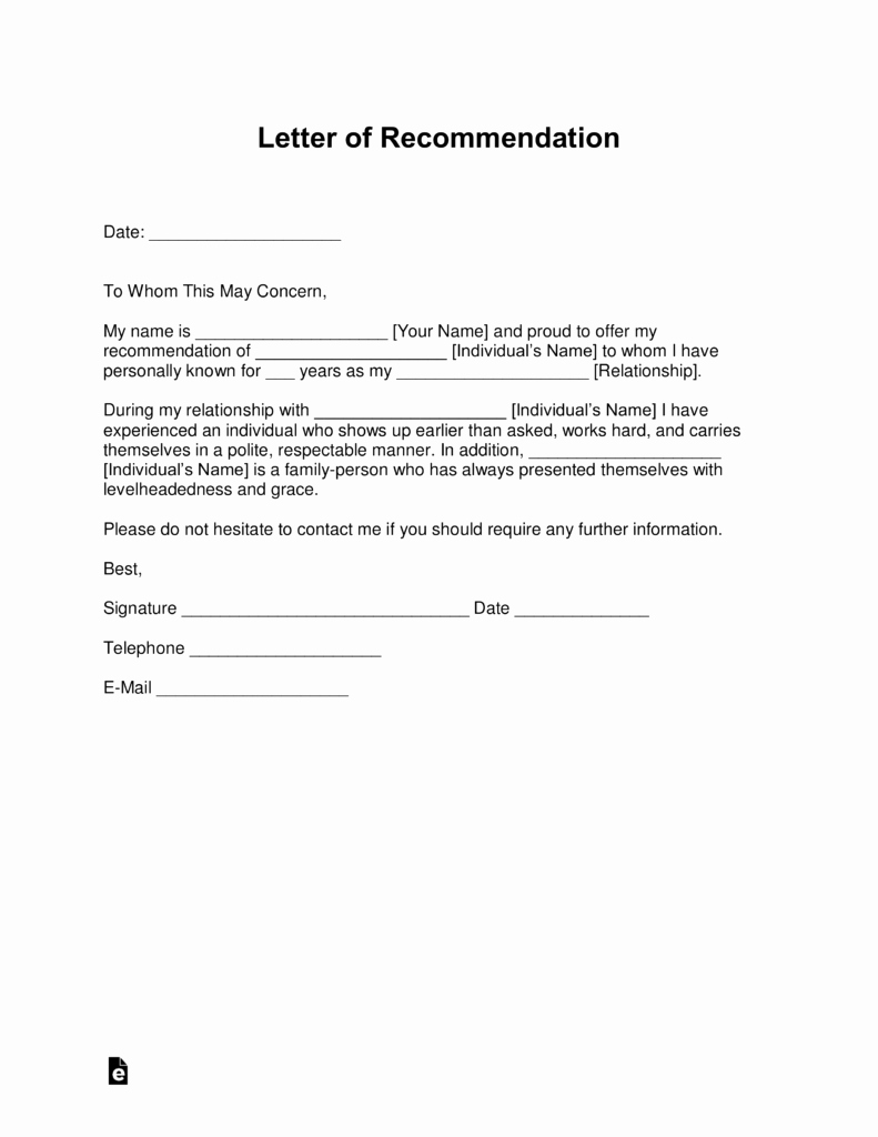 Form for Letters Of Recommendation Unique Free Letter Of Re Mendation Templates Samples and