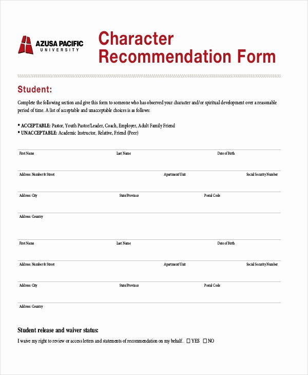Form for Letters Of Recommendation Unique Sample Character Reference Letter 8 Free Documents In
