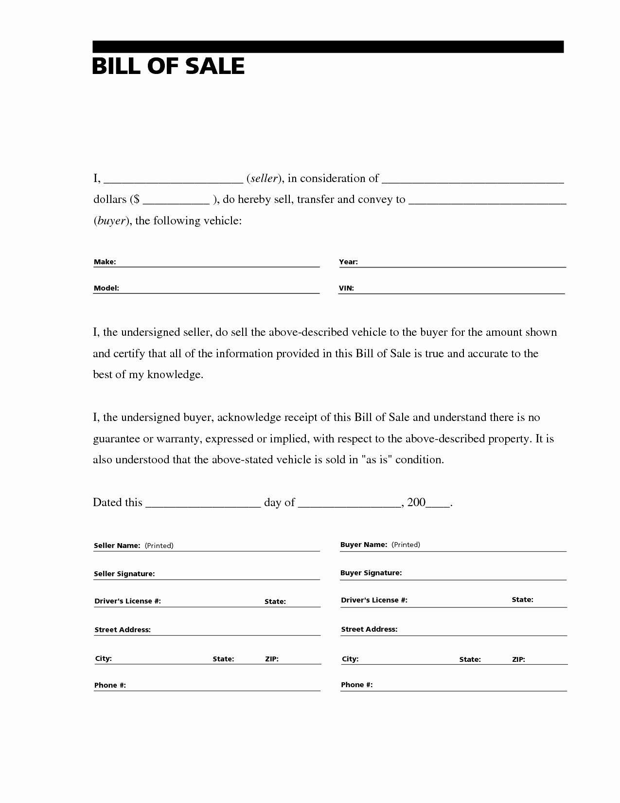 Form Of Bill Of Sale Elegant Free Printable Auto Bill Of Sale form Generic