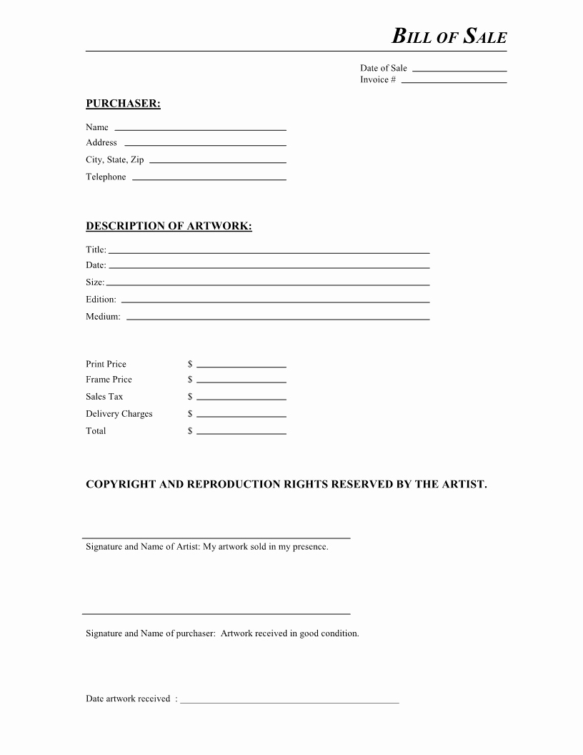 Form Of Bill Of Sale Lovely Free Artwork Bill Of Sale form Pdf