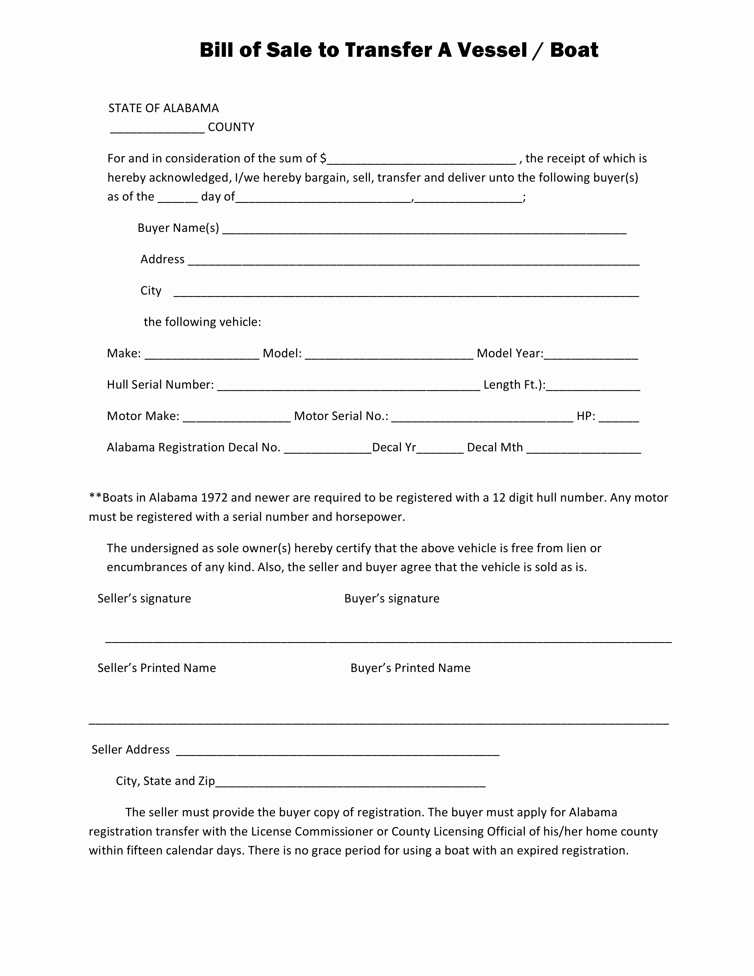 Form Of Bill Of Sale New Free Alabama Boat Bill Of Sale form Pdf