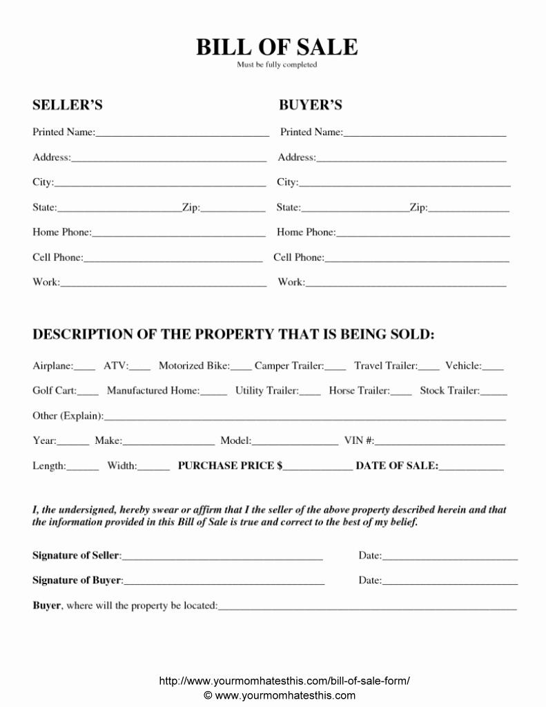 Form Of Bill Of Sale New Used Car Sale form