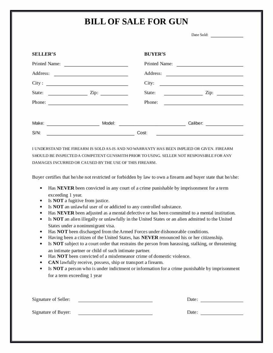 Form Of Bill Of Sale Unique 2019 Firearm Bill Of Sale form Fillable Printable Pdf