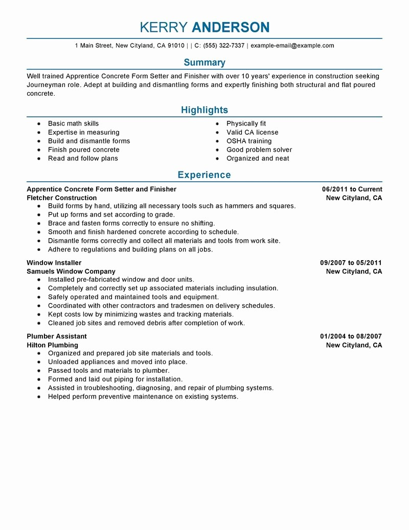 Form Of Resume for Job Elegant Best Apprentice Concrete form Setter and Finisher Resume