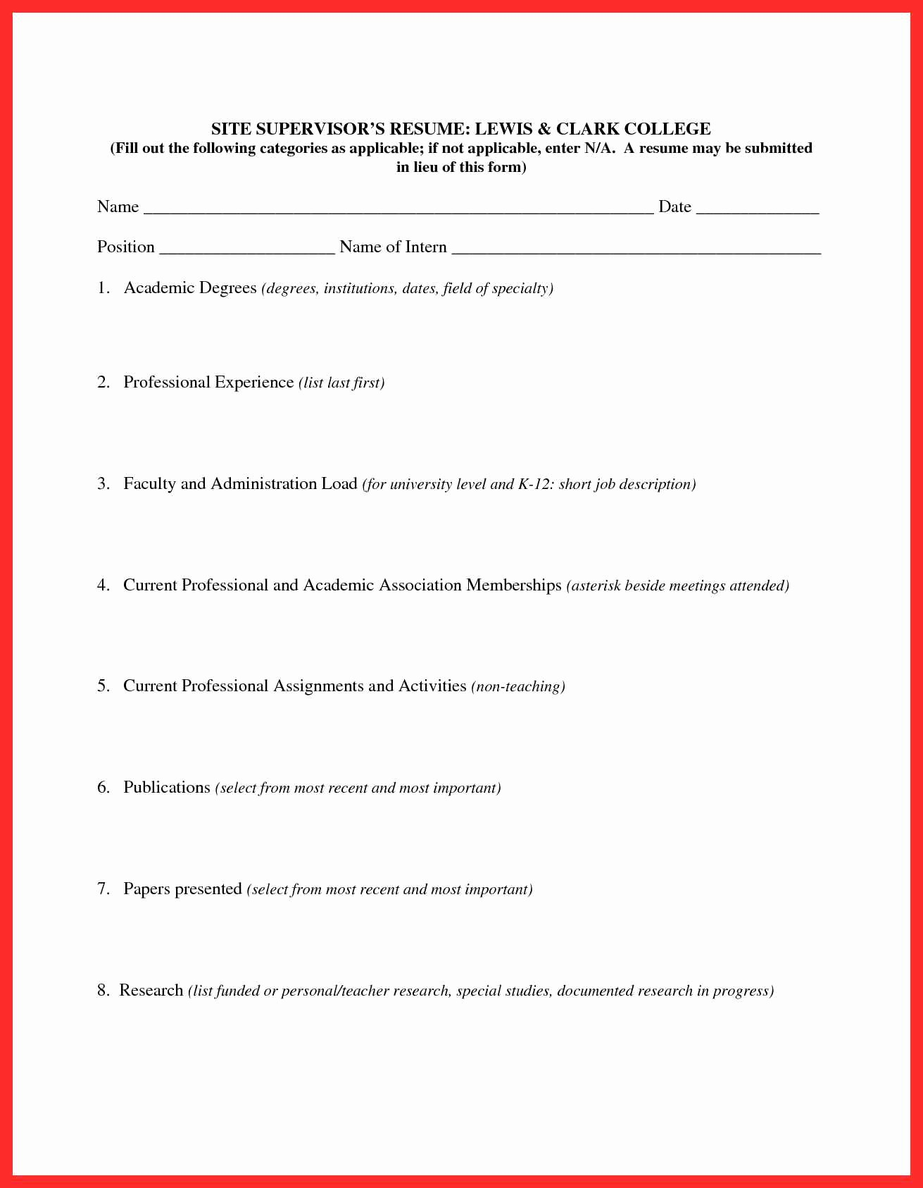Form Of Resume for Job Inspirational Fill In Resume form