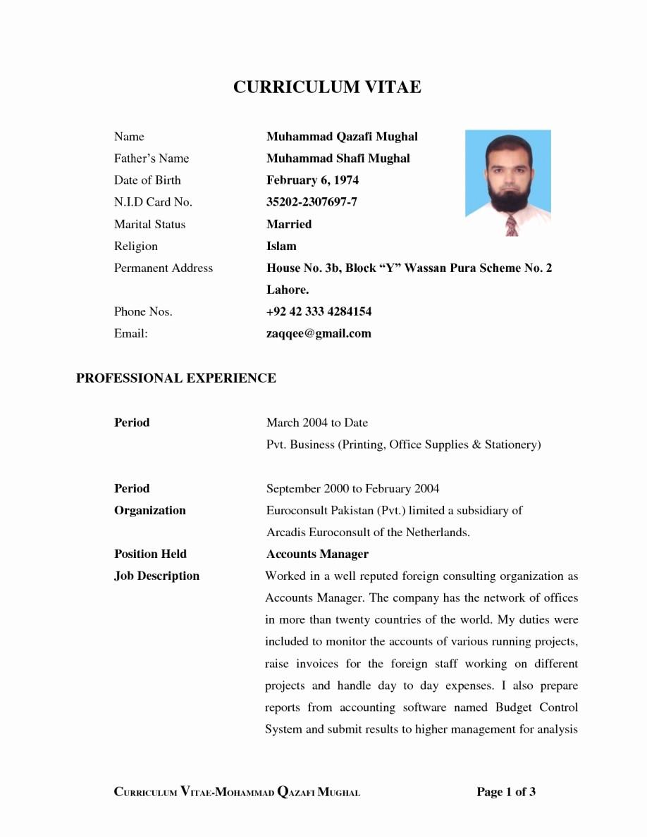 Form Of Resume for Job Lovely Sample Biodata format for Applying Job – Perfect Resume format