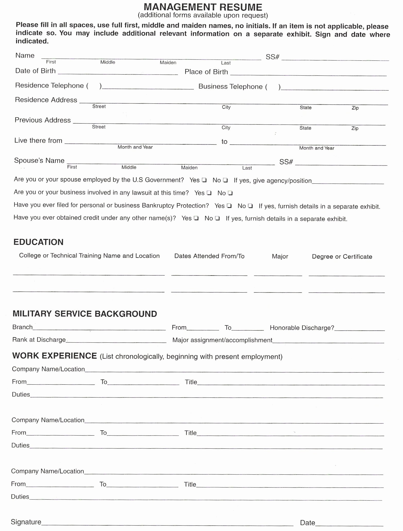 Form Of Resume for Job Unique Resume form