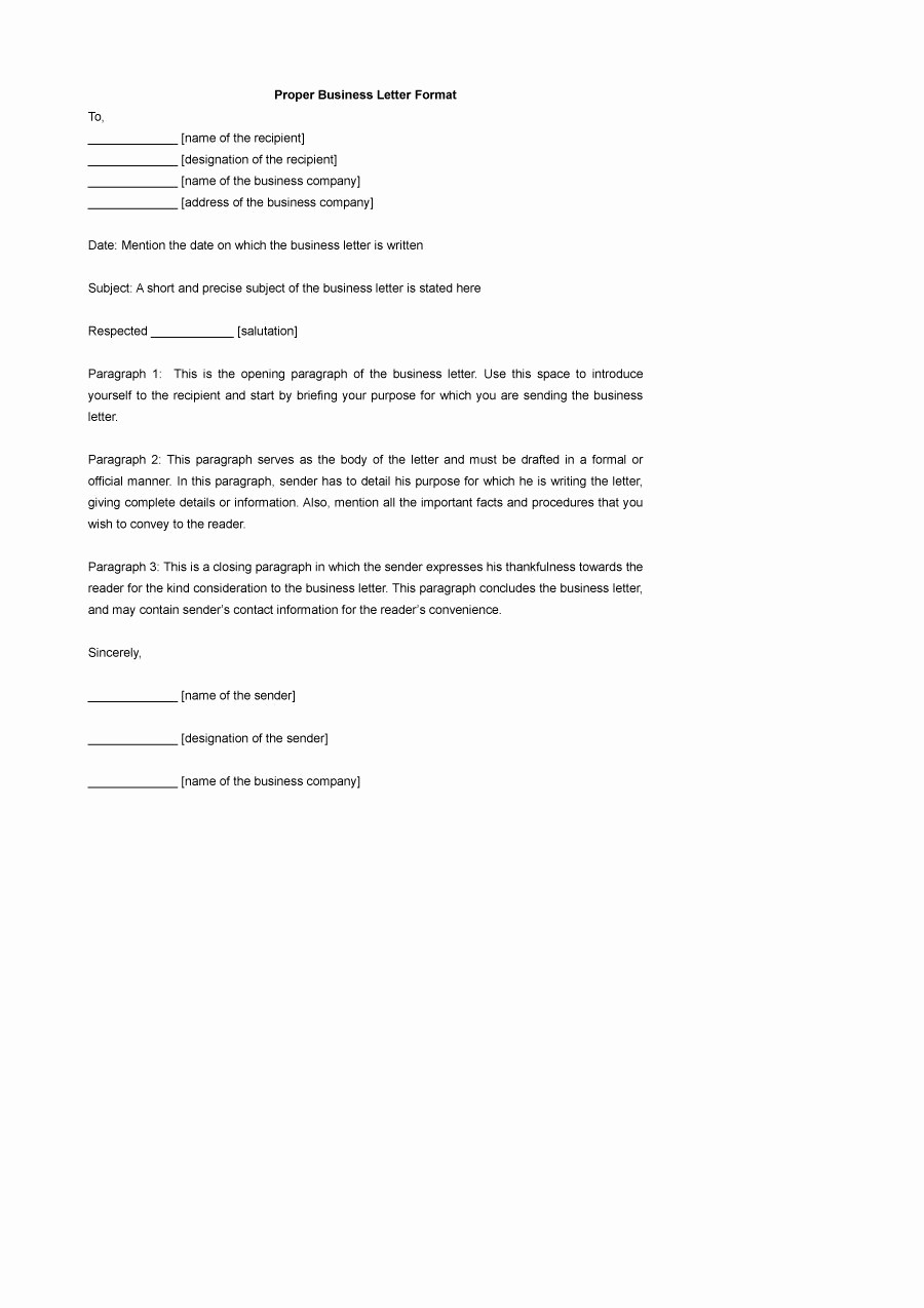 Formal Business Letter format Template Elegant 35 formal Business Letter format Templates & Examples