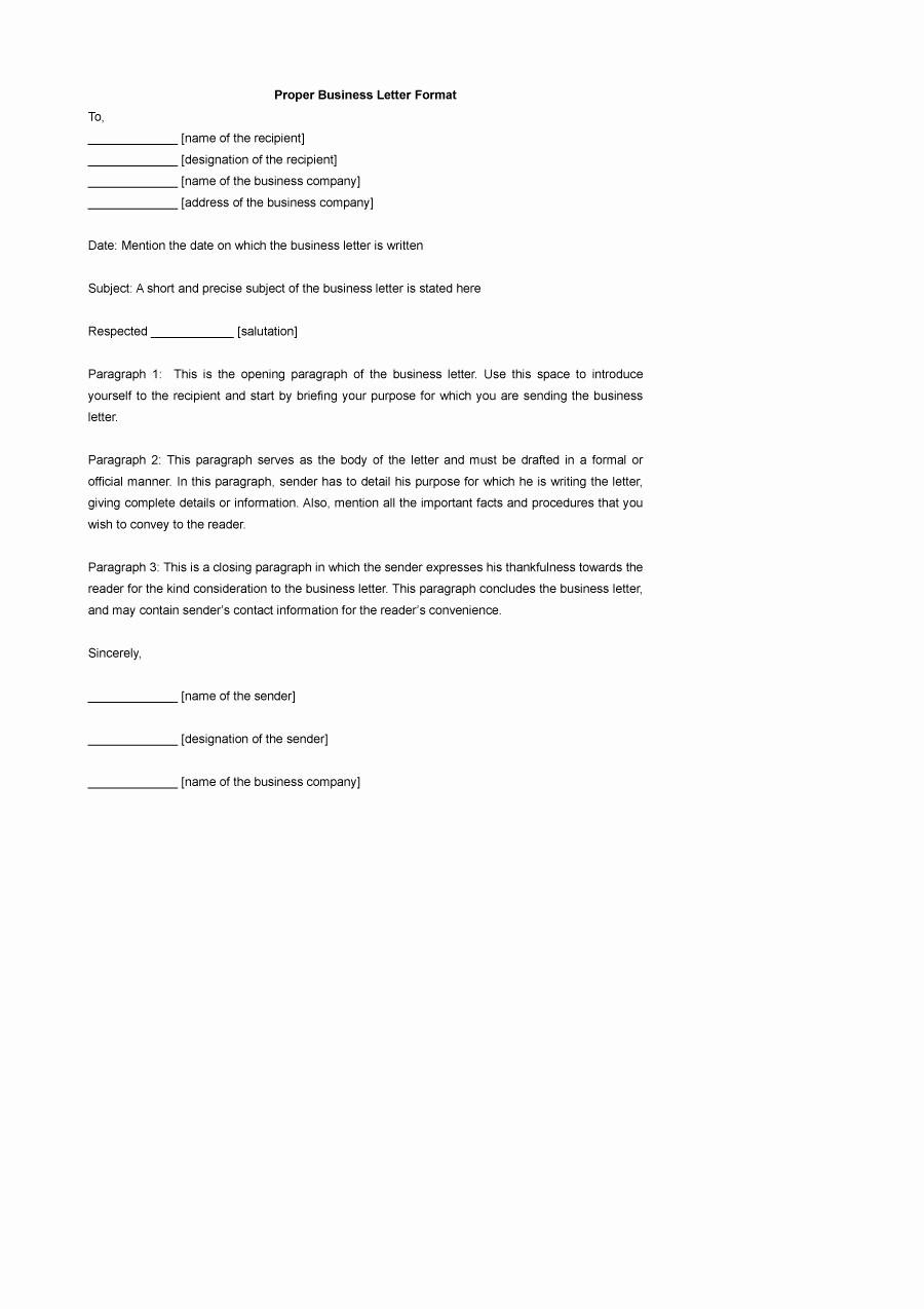 Formal Business Letter format Template Elegant 35 formal Business Letter format Templates & Examples