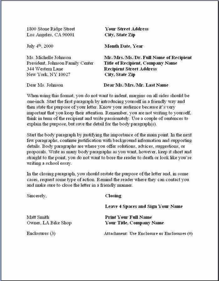 Formal Business Letter format Template Elegant Business Letter format – formal Writing Sample Template
