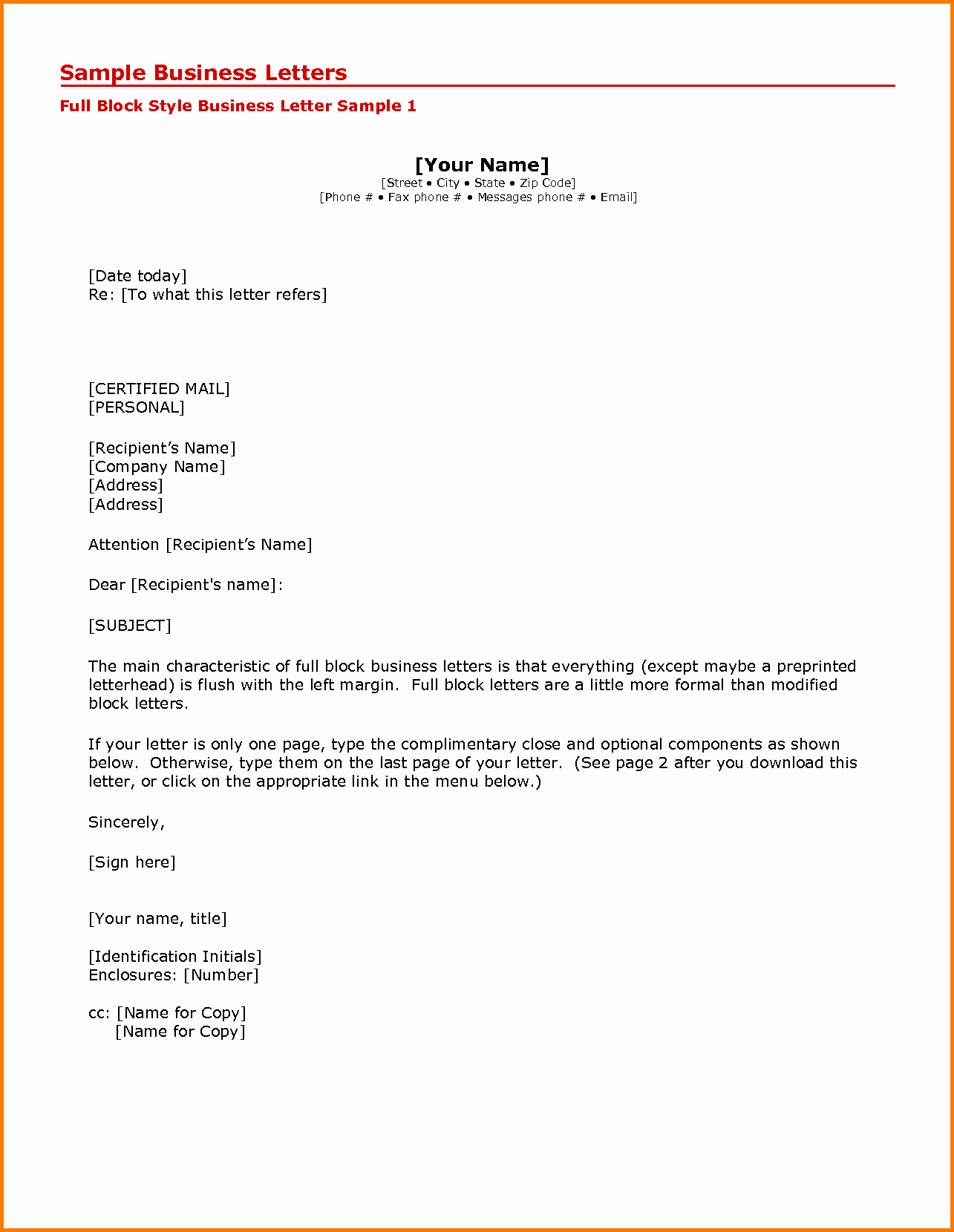 Formal Business Letter format Template Fresh 5 Printable formal Business Letter format