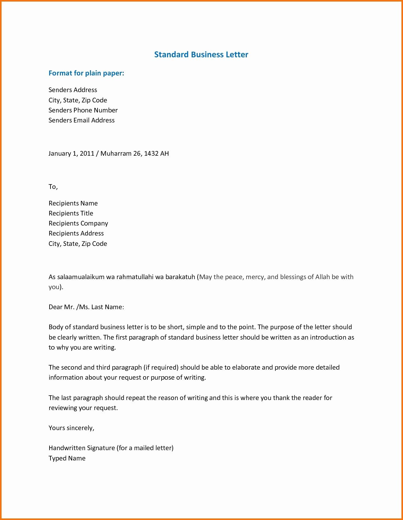 Formal Business Letter format Template New Standard formal Letter format