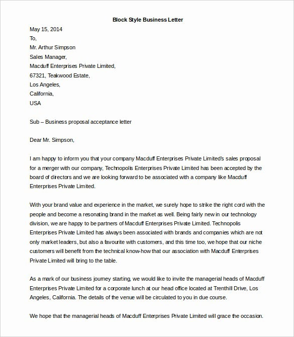 Formal Business Letter Template Word Inspirational formal Letter Template Microsoft Word