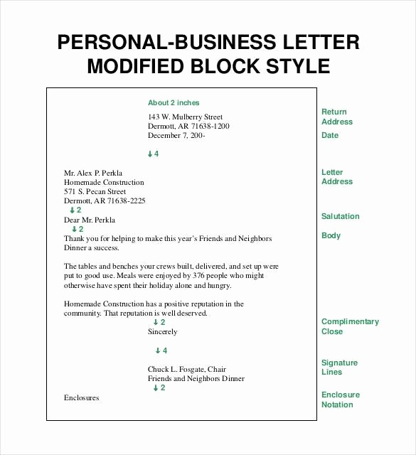 Formal Business Letter Template Word Inspirational Personal Business Letter format Block Style