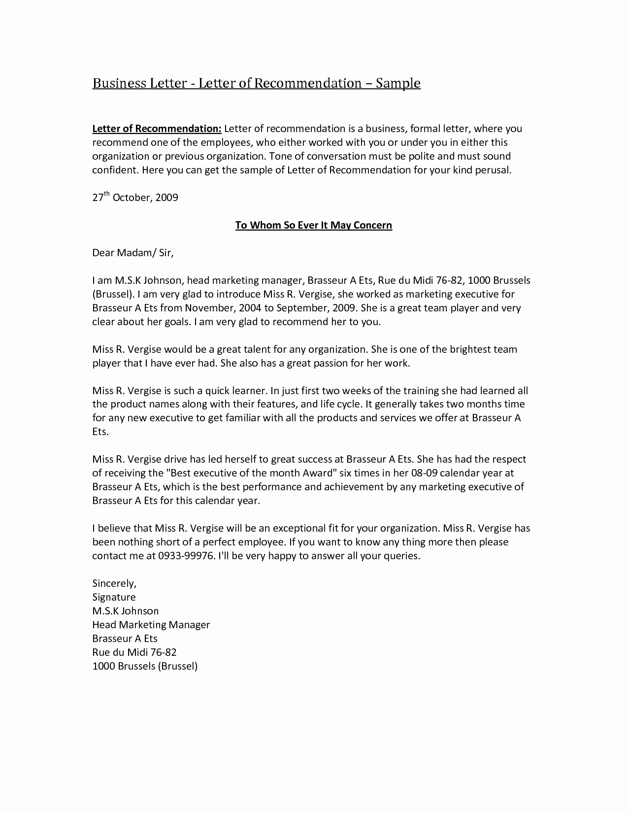Formal Letter Of Recommendation Template Elegant Best S Of Business Reference Letter Samples