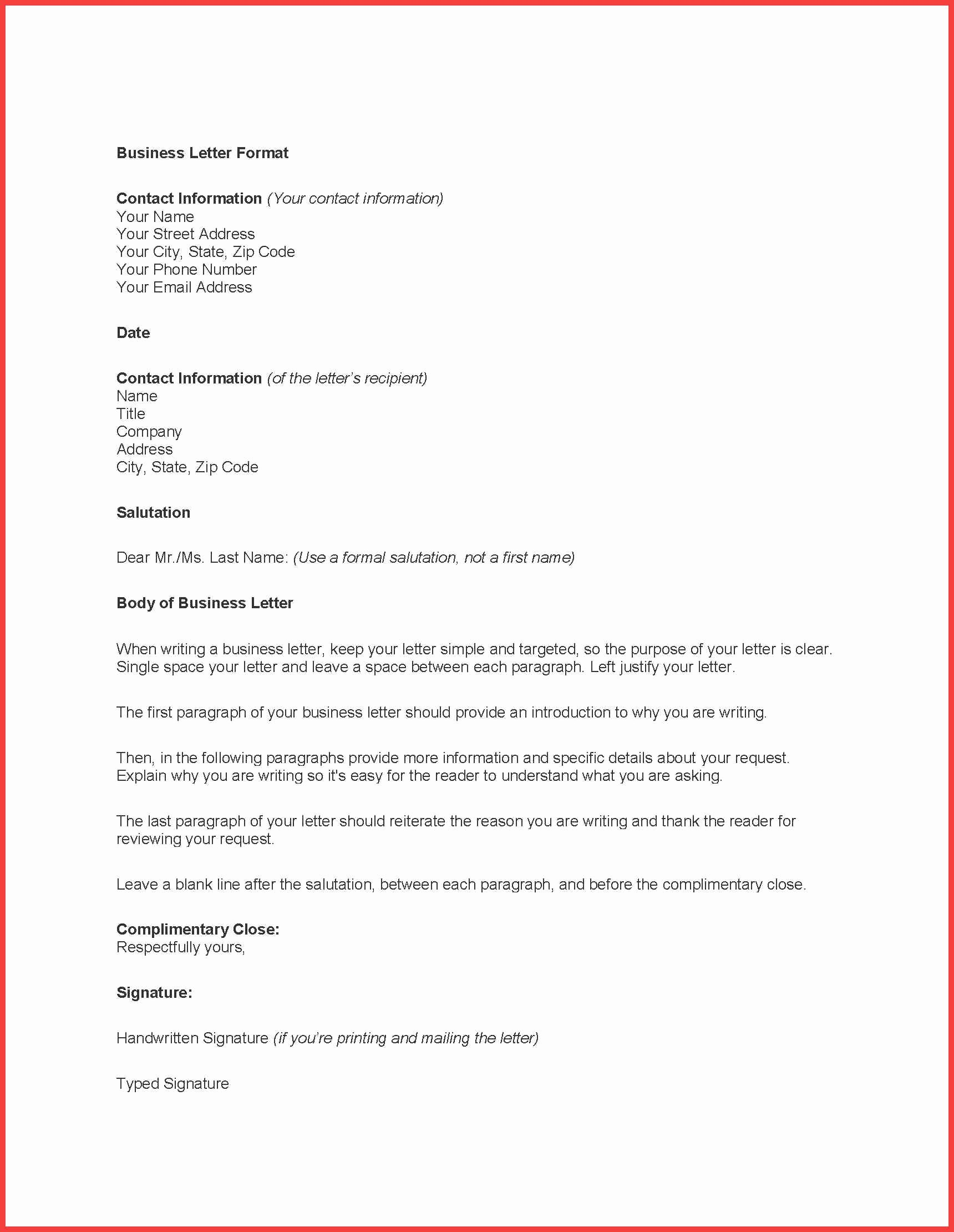 Format A Letter In Word Awesome formal Letter Word Template
