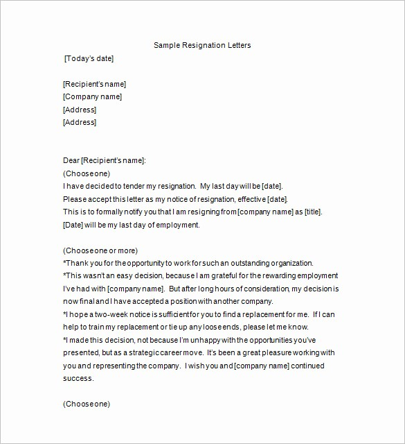 Format A Letter In Word Best Of 11 Resignation Notice Templates Doc Pdf