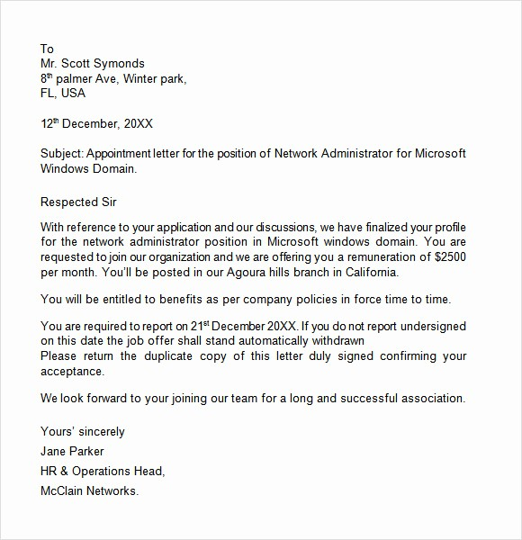 Format A Letter In Word Best Of Appointment Letter 7 Free Samples Examples format