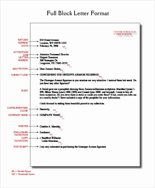 Format A Letter In Word Best Of Block Letter format Template 8 Free Word Pdf Documents