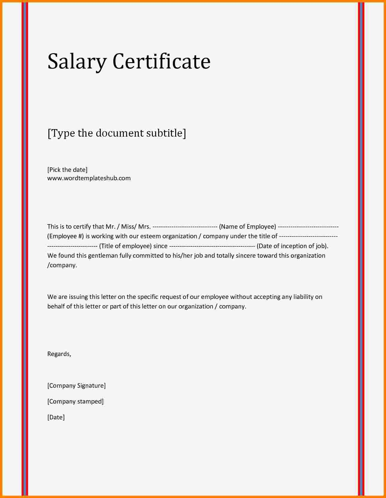 Format A Letter In Word Elegant 7 Salary Letter format Word