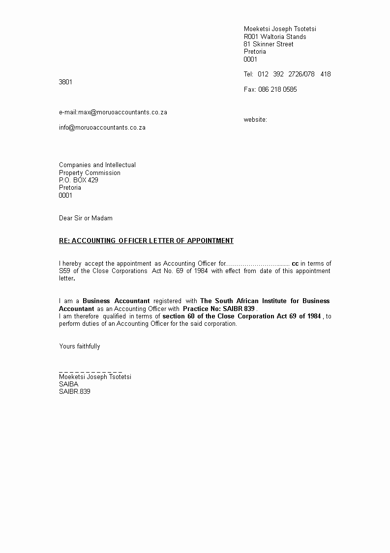 Format A Letter In Word Lovely Free Appointment Letter format for Accountant In Word