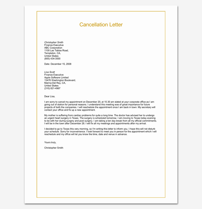 Format A Letter In Word Luxury Appointment Cancellation Letter 10 Samples Examples