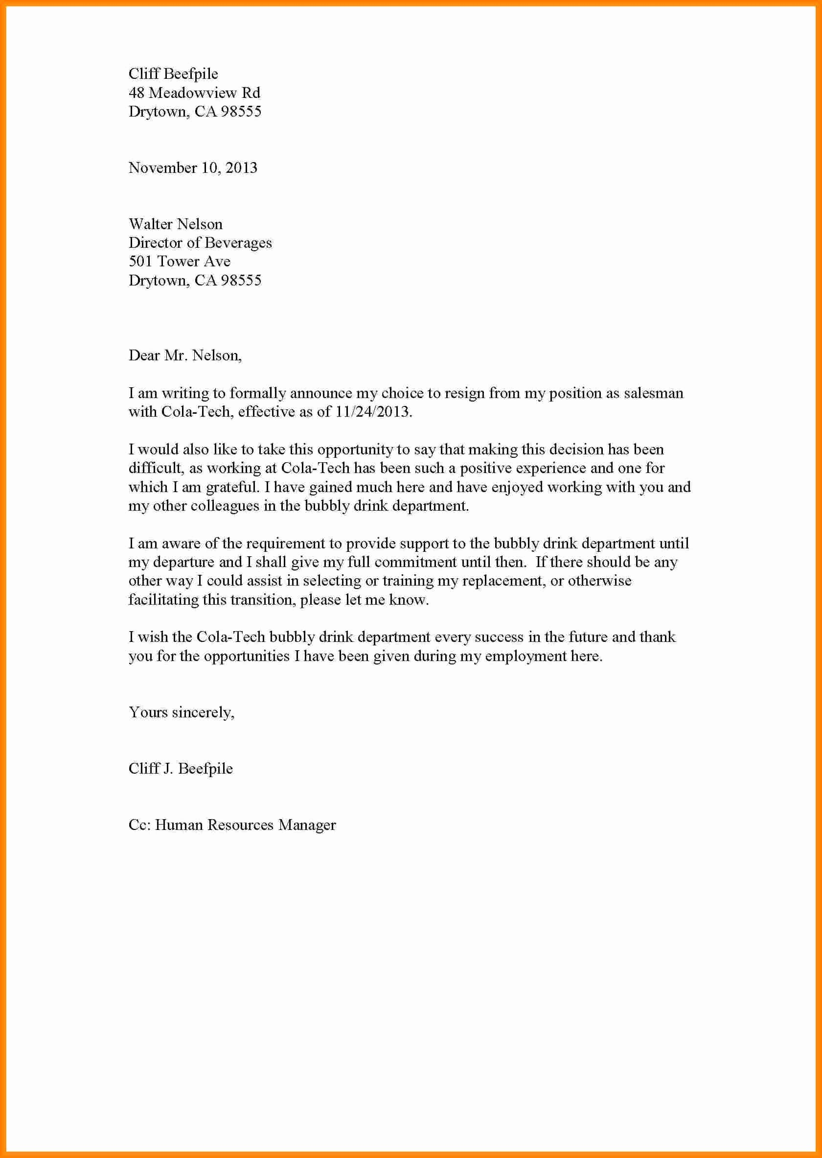 Format A Letter In Word New 10 Resign Letter format Word