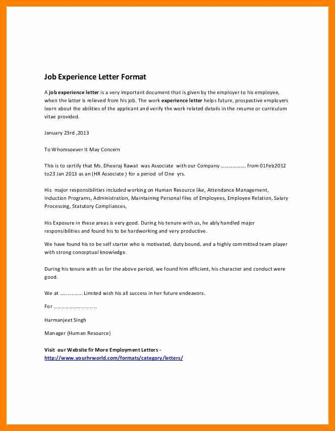 Format A Letter In Word New 8 Experience Certificate Sample In Word format
