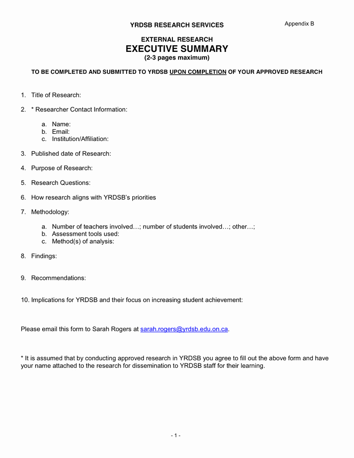 Format for An Executive Summary Elegant Executive Summary Template In Word and Pdf formats