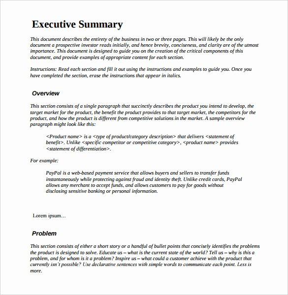 Format for An Executive Summary Fresh 31 Executive Summary Templates Free Sample Example