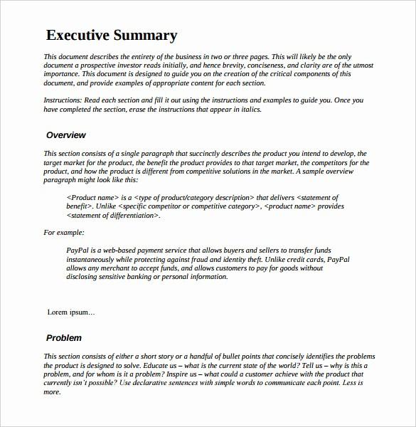Format for An Executive Summary Fresh 31 Executive Summary Templates Free Sample Example