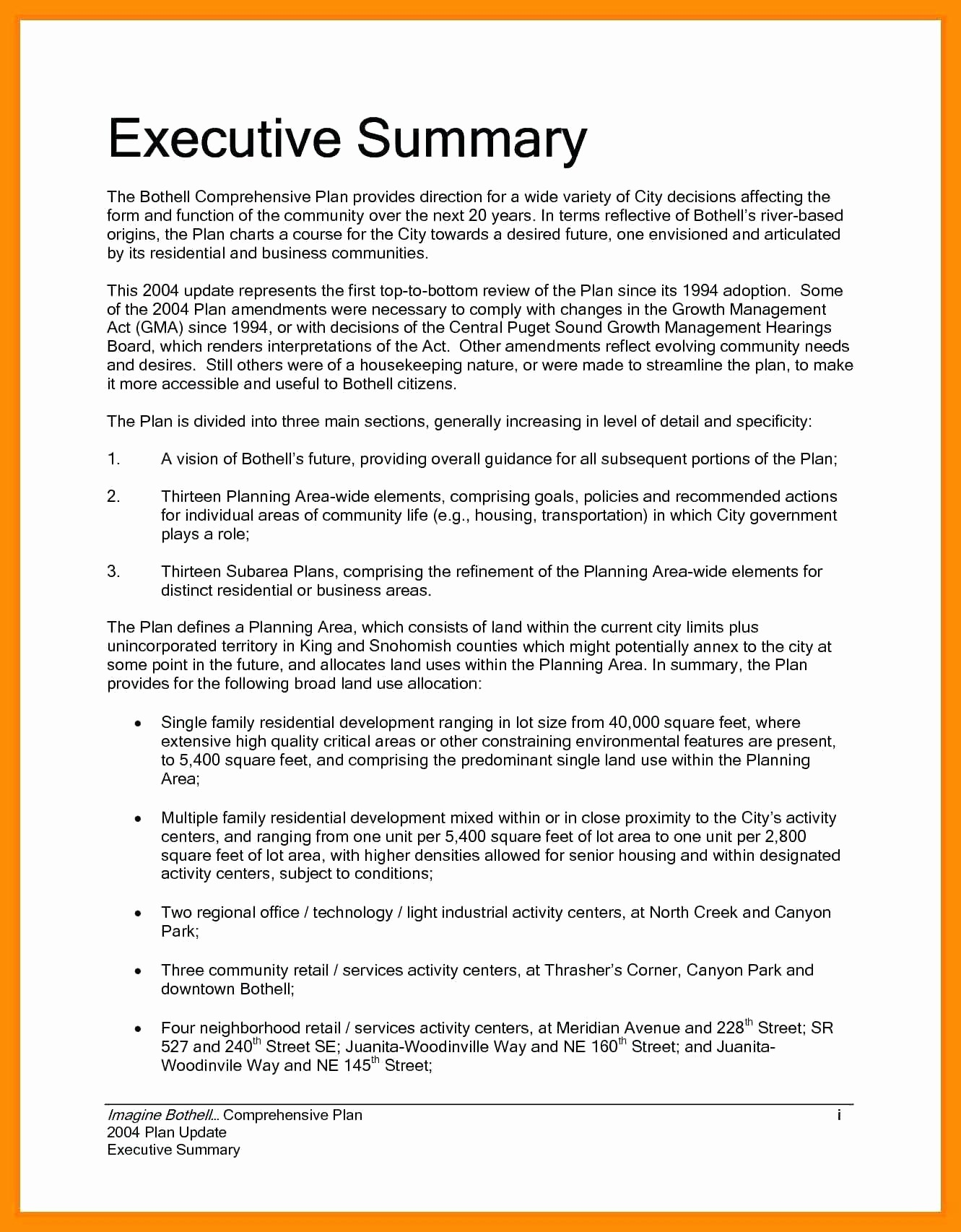 Format for An Executive Summary Fresh Template Executive Summary Sample Template