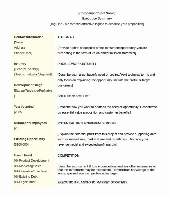 Format for An Executive Summary Inspirational 31 Executive Summary Templates Free Sample Example