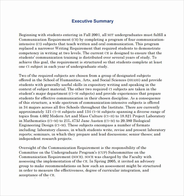 Format for An Executive Summary Luxury 8 Executive Summary Templates – Samples Examples