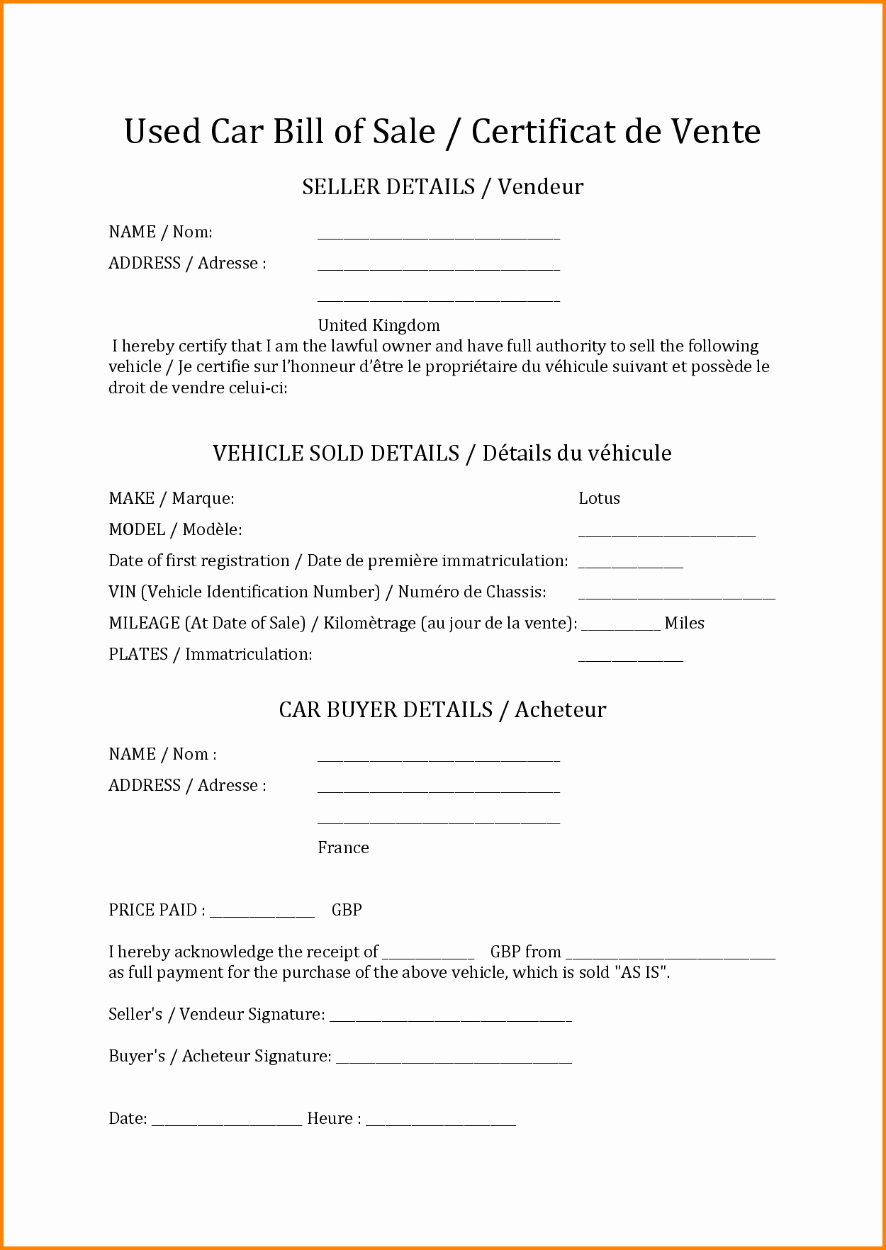 Format for Bill Of Sale Elegant 10 How to Write A Bill Template