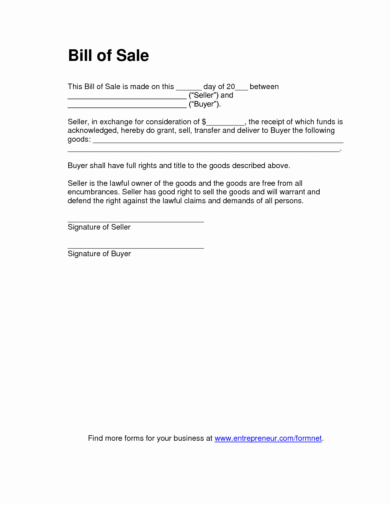 Format for Bill Of Sale Fresh Free Printable Bill Of Sale Templates form Generic